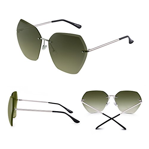 Sol Plateado Verde Gafas Mujer Sin de Anteojos Marco Gradiente Gradiente Cuadrado Claro TxqOwxnF