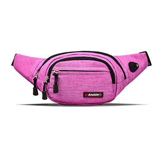 EAOOK Waterproof Travel Belt,Big Fanny Pack for Outdoor Sport/Money Belt(Pink)
