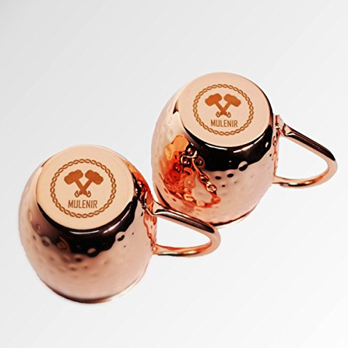 Mulenir Moscow Mule Mugs - Pair Of Copper Mugs Styled With a Hammered Finish - Welded Handles - Lined With Food Safe Stainless Steel- Includes Mule Recipe Book - Great Gift For Weddings And (Copper Plated Steel)