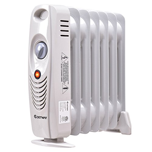 Costway Oil Filled Radiator Heater Mini Portable Electric Room Thermostat 700W COSTWAY Oil Filled Heaters