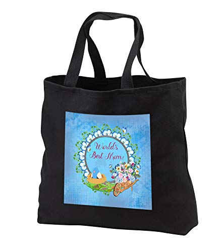 Beverly Turner Mothers Day Design - Worlds Best Mom, Red, Frame, Bird in Nest, Wheel Barrow, Flowers, Blue - Tote Bags - Black Tote Bag 14w x 14h x 3d (tb_304895_1)