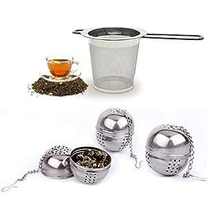 BESYZY 4PCS Infusor de Té Colador de té Malla de acero inoxidable filtros bola de té pequeña filtro de especias para las tazas y los potes flojos del té del grano de la hoja
