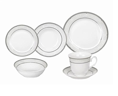 24-Piece Silver/White Porcelain Dishwasher Safe Dinnerware Set (Service For 4)