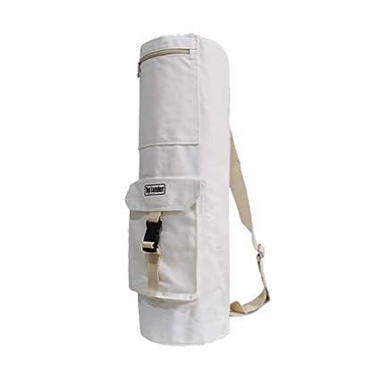 Bolsa para Esterilla de Yoga Blanco Algodón, Buen Portador para su Esterilla, con un Cordón y Dos Grandes Bolsillos de Almacenamiento, Tanto para ...