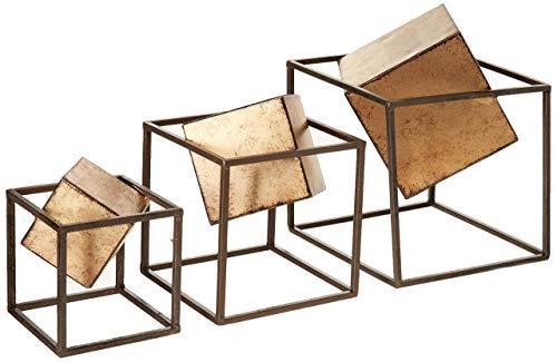 - Quad Gold Cube - Modern Living Room Table Decor , Home Decorations Set Of 3 , Black / Gold (Renewed)