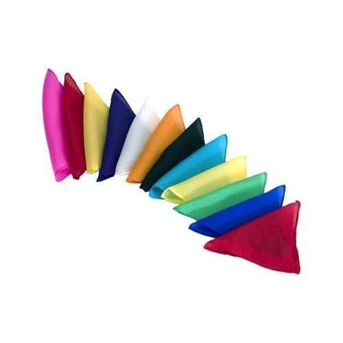 Lot de 12 Foulards en soie (15 x 15 cm) (1 de Chaque couleur)