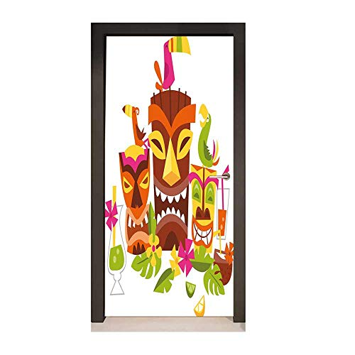 Homesonne Luau 3D Door Sticker Three Grimacing Tiki Party Masks Surrounded by Leaves Drinks and Cute Toucan Birds Art Door Decals Multicolor,W17.1xH78.7 -
