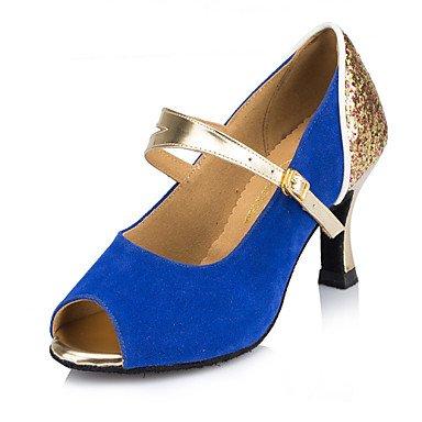 Peach baile Salsa Zapatos de Latino Tacón Zapatos de Swing Stiletto Fucsia Azul Personalizables Moderno OxqY5