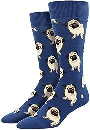 Men's King Socks Pugs Crew Blue (King Size Sock Size 13-16)