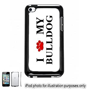 Bulldog Paw Love Dog Apple iPod 4 Touch Hard Case Cover Shell Black 4th Generation