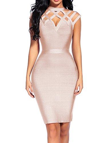 Madam Uniq iFashion Women's Sleeveless High Neck Hollow Out Bandage Mini Dress (S, Beige)
