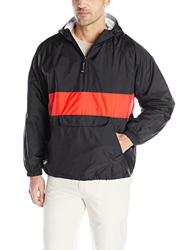 - Charles River Apparel Wind & Water-Resistant Pullover Rain Jacket (Reg/Ext Sizes), Black/Red, XL