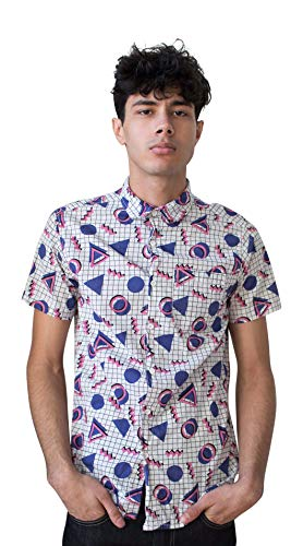 Ragstock Men's Casual Button-Up Icon-Printed Woven Shirts (Medium, Purple-Triangles) ()