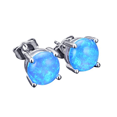 JunXin Three Color Round Cut Opal Stud Earring 7.5MM (Blue)
