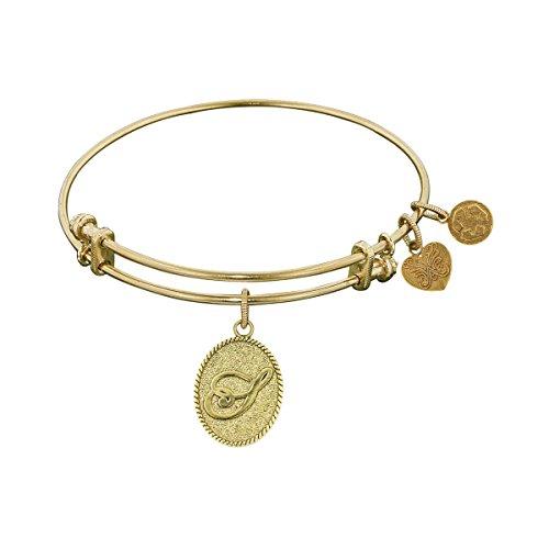 "Angelica Yellow Brass Initial Letter S Bangle Bracelet, 7.25"" -  GEL1173"