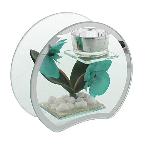 Hestia 15cm Glass & Mirror Tea Light Holder Aqua / Turquoise Round - Aqua Mirror