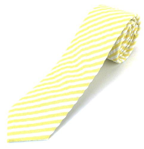 Yellow Seersucker (Men's Cotton Skinny Necktie Tie Seersucker Pattern Puckered Texture Vintage Feel - Yellow)