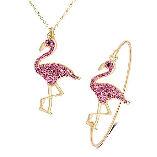 SENFAI Pink Flamingo Bird Bangle Bracelet/Pendant Necklace/Dangle Earrings 3 Pcs Set for Women (Gold bracelet + necklace) ()