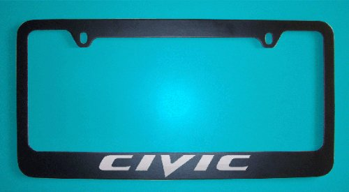 Honda Civic License Plate Frame - Honda Civic Black License Plate Frame V2 (Zinc Metal)