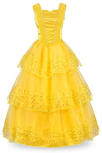 JerrisApparel Adult Princess Belle Ball Gown Cosplay Costume Women Party Dress (4, (Belle Dress For Adults)