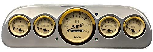 Dolphin Gauges 1960 1961 1962 1963 Ford Falcon Car 5 Gauge Dash Cluster Panel Set Mechanical Gold Bezel ()