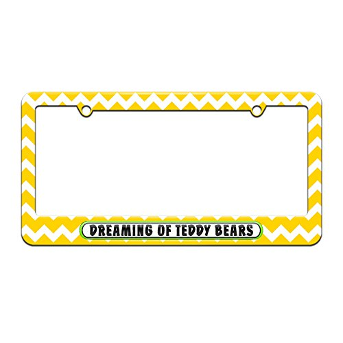 Dreaming of Teddy Bears - License Plate Tag Frame - Yellow Chevrons Design