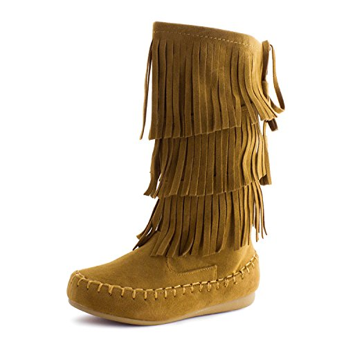 Link Candice-16Ka Girls Mid Calf 3 Layer Fringe Boots,Tan,4 - Girls Fringed Boots