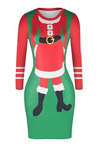 Pink Queen Women Santa Christmas Pattern Long sleeve Crew Nack Midi Dress,Medium,Red+green+white -