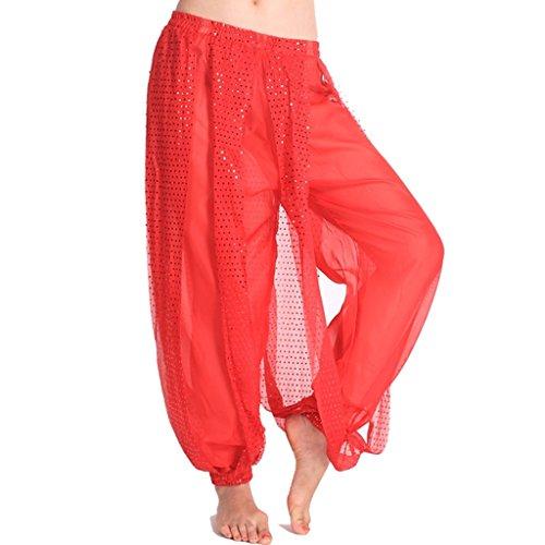 MUNAFIE Belly Dance Harem Pants Arabic Halloween Lantern Shiny Pants Fancy Pants US0-14 Red -