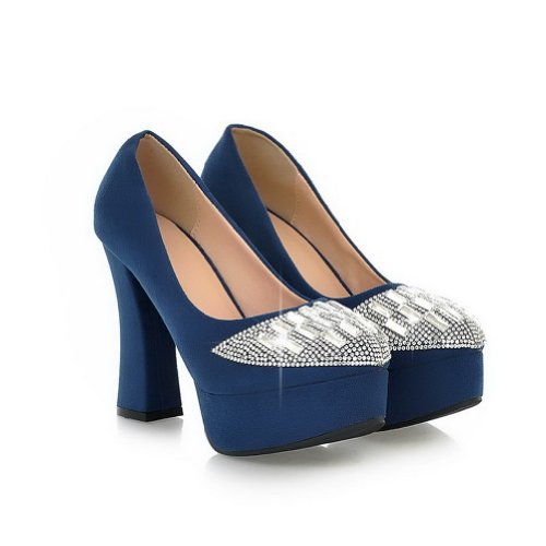VogueZone009 Womans Closed Round Toe High Heel PU Frosted Solid Pumps with Rhinestones, Blue, 3.5 UK