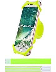 Amathings Mobielhouder voor fiets die zowel om het stuur van je fiets als auto past, geschikt voor smartphones van 10-15 cm (4-6 inch), inclusief 2 reflecterende banden voor je broekspijpen