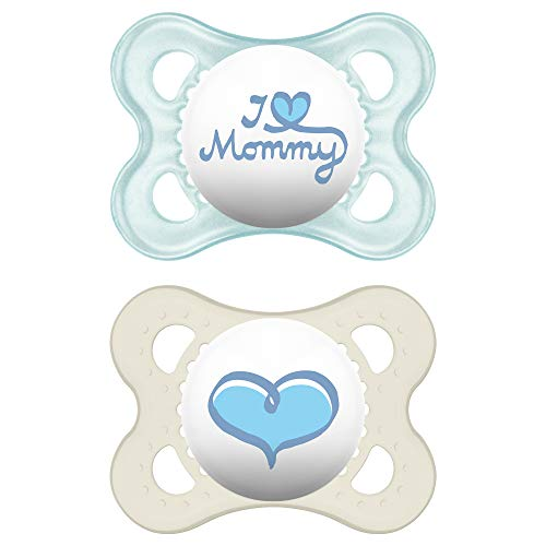 MAM Pacifiers, Baby Pacifier 0-6 Months, Best Pacifier for Breastfed Babies, 'I Love Mommy' Design Collection, Boy, 2-Count