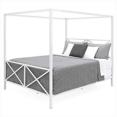PROGLEAM Canopy Bed, Queen Size Modern Industrial Style White Metal Canopy Bed Frame