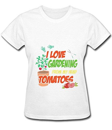 Iron Maiden Tool Women's I Love Gardening From My Head Tomatoes pretty T-shirt white