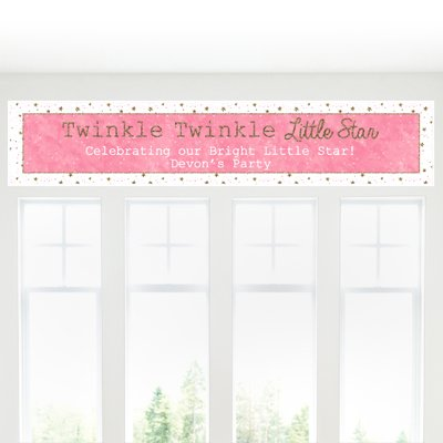 Custom Pink Twinkle Twinkle Little Star - Personalized Baby Shower or Birthday Party Decorations Party Banner (Birthday Personalized Banner Stars)