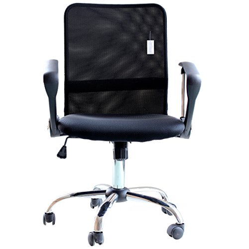 Mid Back Ergonomic Chrome Frame (IDS Home Ergonomic Adjustable Mesh Mid-Back Office Task Desk Chair with Arms, Black)