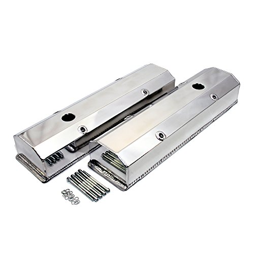 Assault Racing Products V4001 SBC Chevy 350 Polished Fabricated Aluminum Long Bolt Valve Covers - 283 327 400