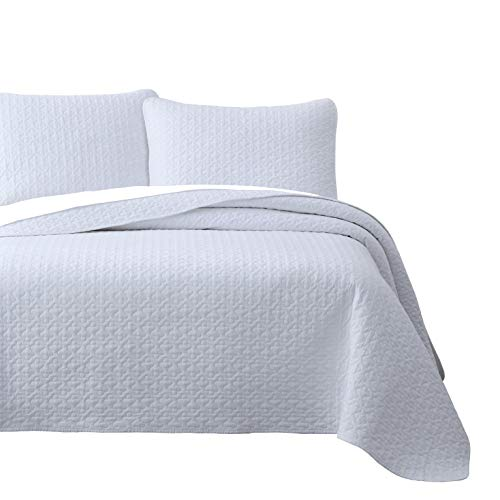 Vega Prewashed 3 Piece Quilted Quilt, Coverlet & Bed Cover Set, Stitched Pattern, Solid Color, Soft Microfiber Shell 100% Cotton Filling | White | King/Cal-King Size Bedspread