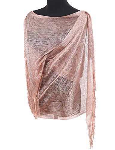 MissShorthair Womens Wedding Evening Wrap Shawl Glitter Metallic Prom Party Scarf with Fringe (Rose Gold)