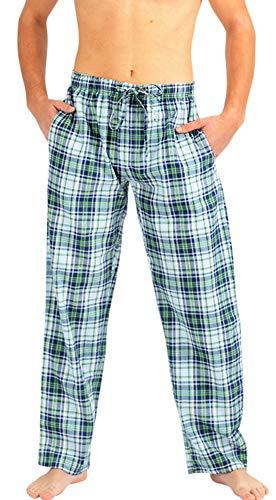 NORTY - Mens Woven Poplin Plaid Sleep Lounge Pajama Pant, Blue, Green ()