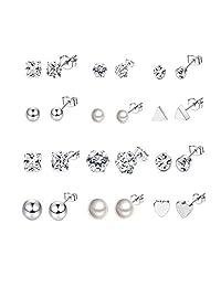 Thunaraz 12Pairs Surgical Steel Stud Earring Set Fake Pearl Earring Ball Triangle Heart CZ Earring Kit