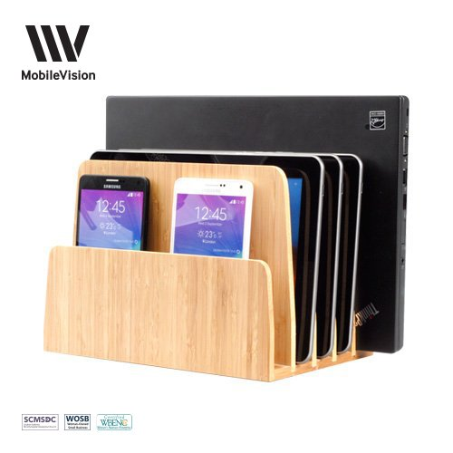 MobileVision Bamboo Multi Device Organizer for Smartphones, Tablets and Laptops, 5 Slots