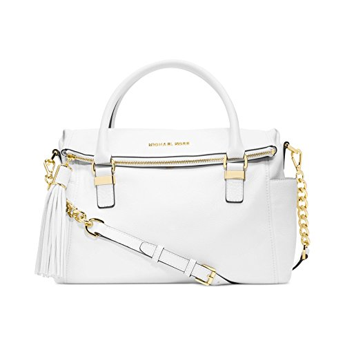 Michael Kors Handbag, Weston Medium Satchel (Optic - Orange And Kors Michael Bag White