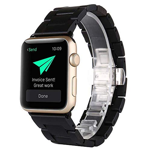 XZZTX Compatible with Apple Watch Band 38mm 42mm, iWatch Ebony Black Bracelet Wriststraps with Stainless Steel Clap Compatible for iWatch Series 3/2/1
