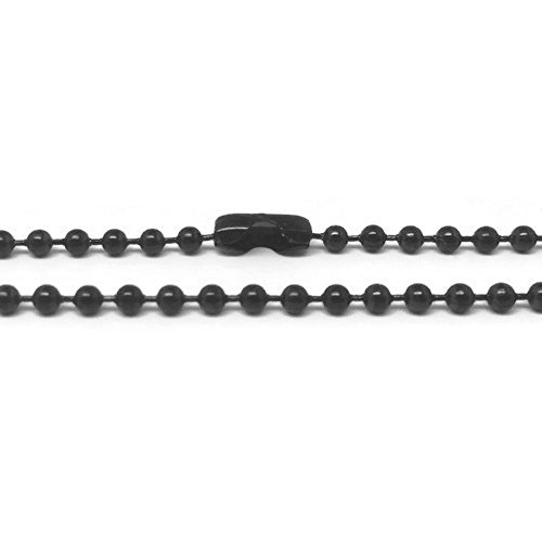 Mens Black Stainless Steel Bead Chain Necklace 2.4mm