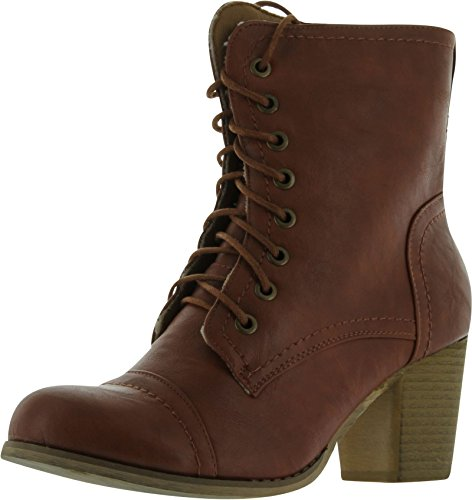 Refresh Ariel Women's Round Toe Lace Up Ankle Bootie On C...