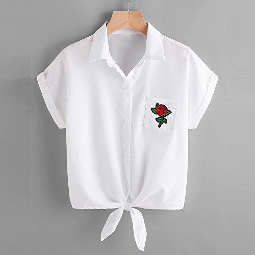 IMJONO - Camiseta - Casual - Floral - cuello en V - para mujer blanco