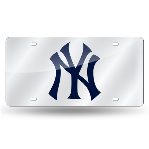 (New York Yankees Deluxe Silver Mirrored Laser Cut License Plate)