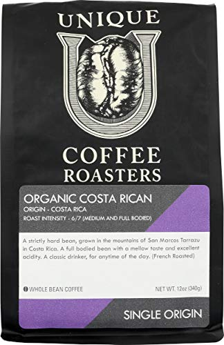 Unique Coffee Roasters, Coffee Costa Rican Whole Bean, 12 Ounce