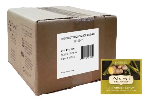 Numi Organic Tea, Decaf Ginger Lemon, Decaffeinated Green Tea, 100 Count Bulk Tea Bags (Ginger Tea Green)